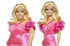 Grafika przedstawiająca Barbie w wersji plus size obok klasycznej lalki.