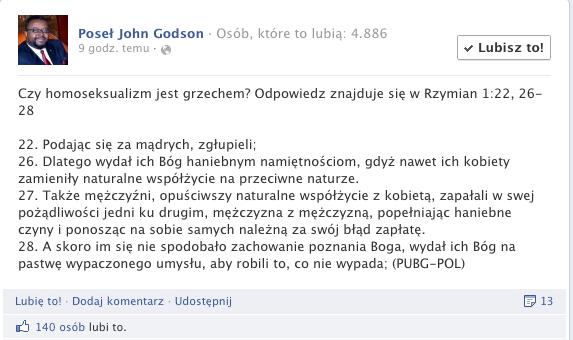 Poseł John Godson przekonuje, że homoseksualizm to grzech.
