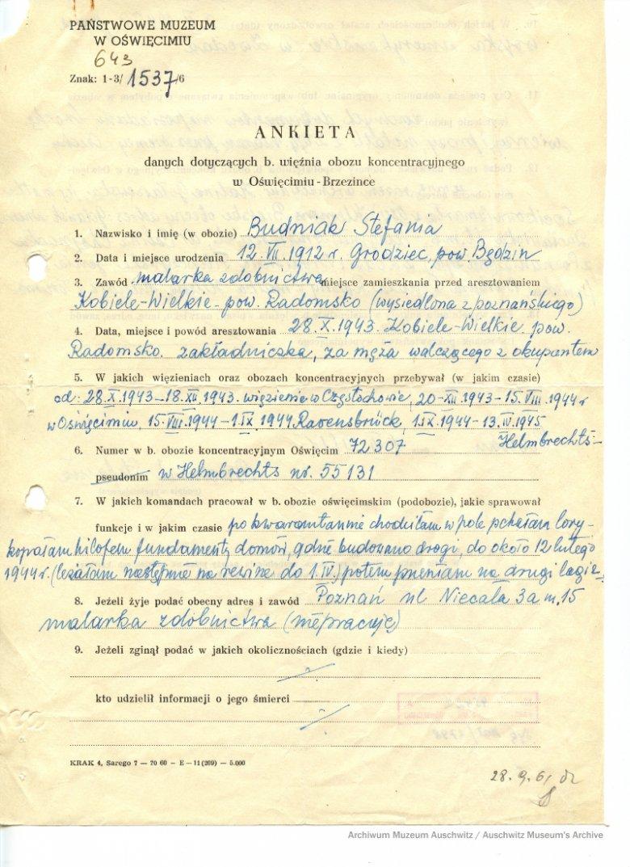 Ankieta, potwierdzająca, że Stefania trafiła do obozu jako zakładniczka za męża