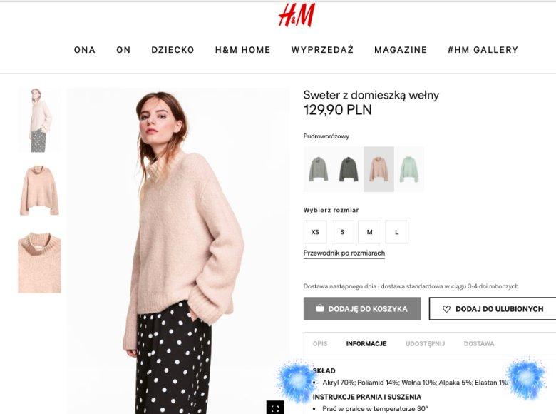 Skład swetra dostępnego w H&M. Alpaka to zaledwie 5 % składu.