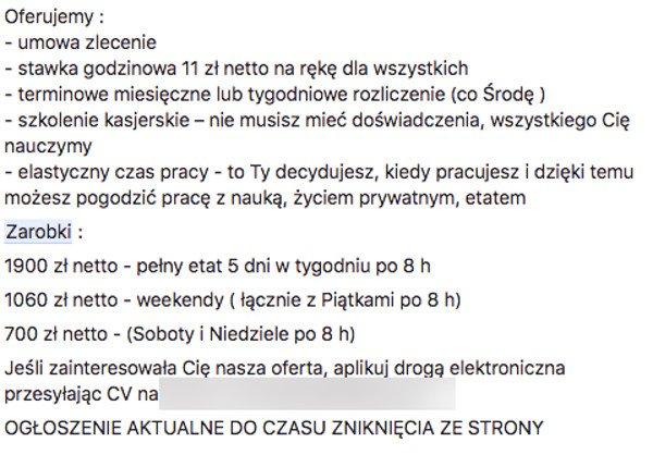 Ogłoszenie o pracę w jednym z hipermarketów we Wrocławiu.