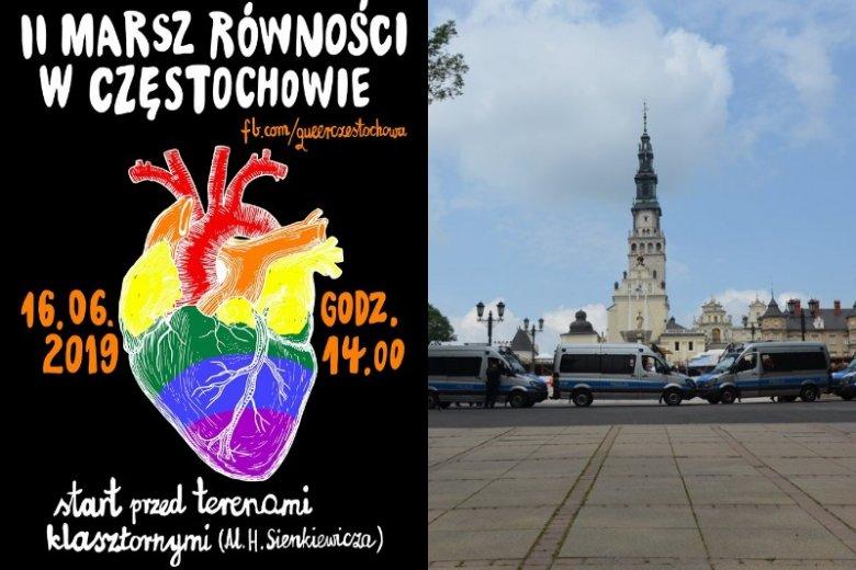"""Radio Maryja pokazało na Twitterze jak Policja """"broni"""" Jasnej Góry przed uczestnikami Marszu Równości."""