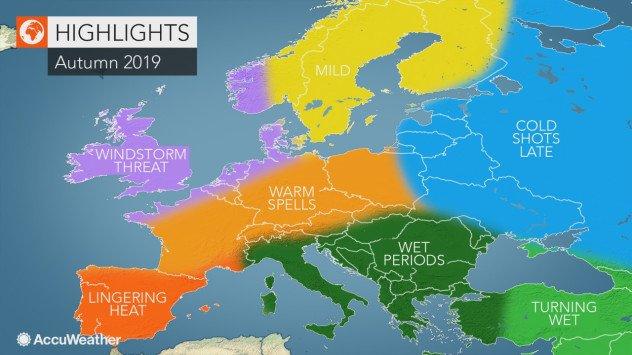 Meteorolodzy zapowiadają wichury na Wyspach, deszcze na południu Europy, a w Polsce? Ciepłą i suchą jesień