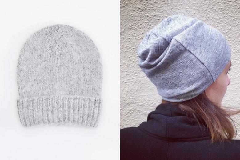 Szara czapka pasuje do każdego koloru włosów. Czapka z lewej Reserved, cena 39, 99 złotych