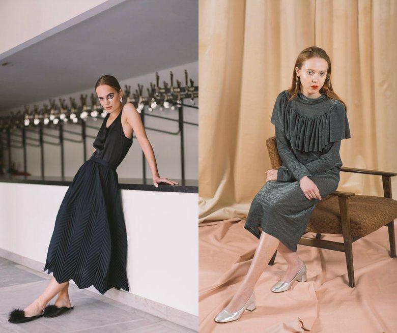 Plisowana spódnica wykonywana tylko na zamówienia i szara sukienka z poprzedniej kolekcji (150 zł)