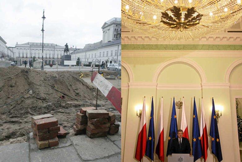 Kancelaria Prezydenta w latach 2010 - 2013 wydała na remonty 12 mln złotych. Na zdjęciu z lewej remont Krakowskiego Przedmieścia, po prawej żyrandol w Pałacu Prezydenckim.