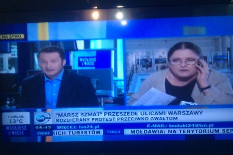 Krystyna Pawłowicz zaatakowała Marsz Szmat na antenie TVN24.