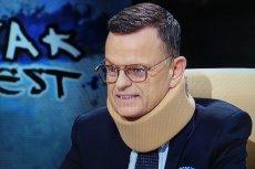 Andrzej Morozowski pojawił się w studiu w kołnierzu ortopedycznym.