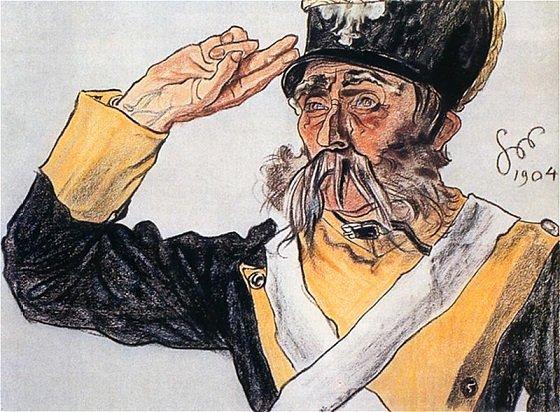 """Stanisław Wyspiański - Ludwik Solski jako stary wiarus w """"Warszawiance"""" (1904, zaginiony)"""