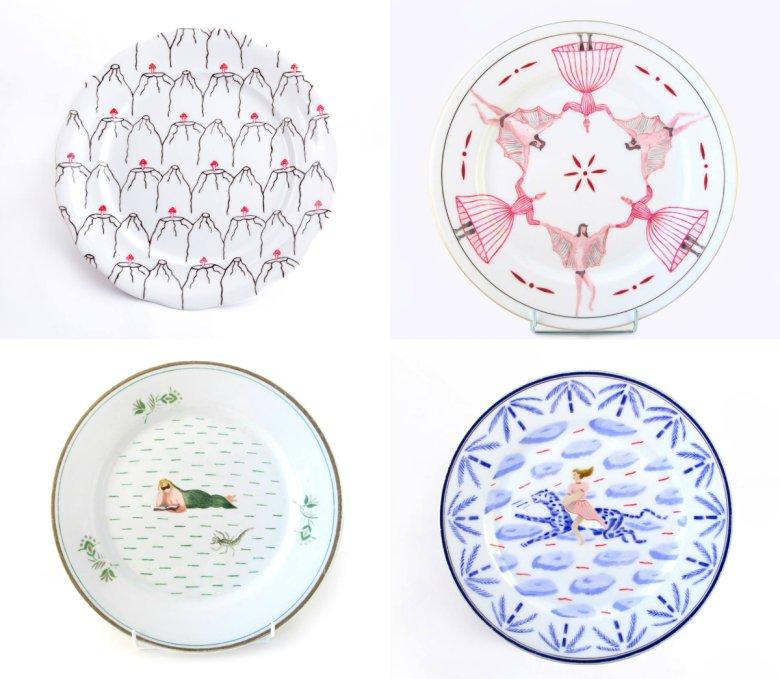 Joanna Fluder swoje surrealistyczne ilustracje tworzy na starych naczyniach, głównie talerzach