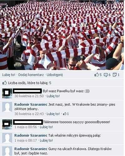 Screen z fanpage'a opatrzonego nazwiskiem wiceprezesa Cracovii