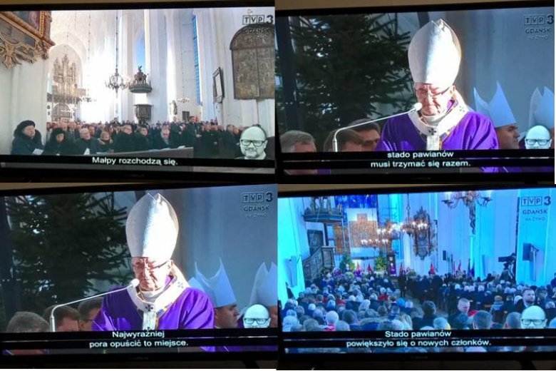 Autodeskrypcja w telewizji. Pomyłka TVP przy transmisji pogrzebu Adamowicza.