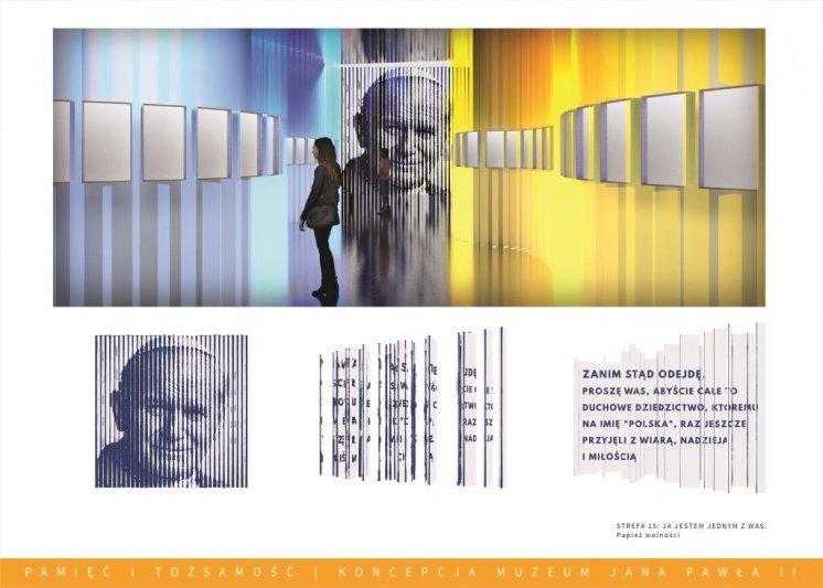 """Materiały Fundacji """"Lux Veritatis"""". Wizualizacja wystawy w Muzeum """"Pamięć i Tożsamość"""". Strefa poświęcona Janowi Pawłowi II."""