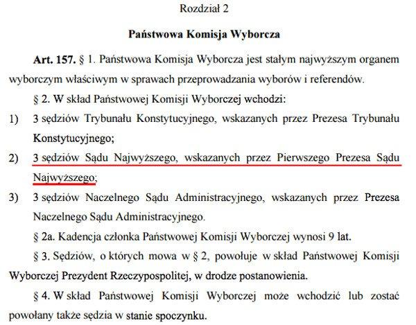 Kodeks wyborczy określa jasno, że trzech spośród 9 członków PKW, to sędziowie Sądu Najwyższego (mogą być w stanie spoczynku) wskazani przez Pierwszego Prezesa SN.