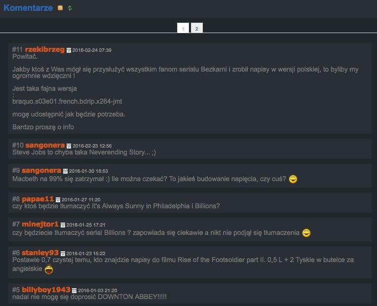 Fragment chatu z tłumaczami ze strony Napisy24.pl