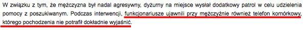 Fragment komunikatu KGP.