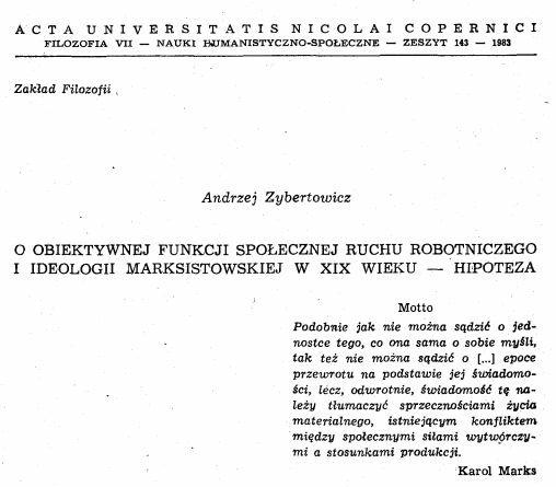 Fragment publikacji Andrzeja Zybertowicza z 1983 r.