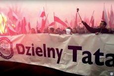 Przedstawiciele Stowarzyszenia Dzielny Tata podczas Marszu Niepodległości 2015.