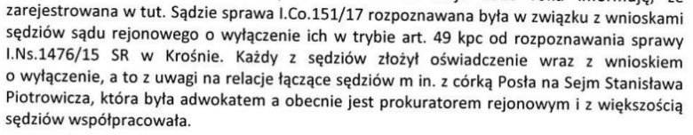 Odpowiedź Sądu Okręgowego w Krośnie.