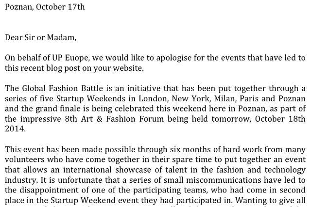 Organizatorzy konkursu dla startupów odpowiadają na zarzuty