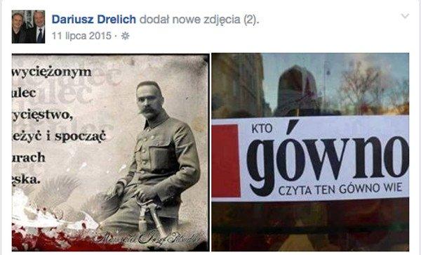 """W czasie kampanii przed wyborami parlamentarnymi w 2015 r. ówczesny radny powiatu gdańskiego Dariusz Drelich zaprezentował na Facebooku, co myśli o """"Gazecie Wyborczej""""."""