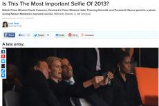 Barack Obama, David Cameron, Helle Thorning-Schmidt robią sobie zdjęcie (selfie) na uroczystościach pogrzebowych Nelsona Mandeli