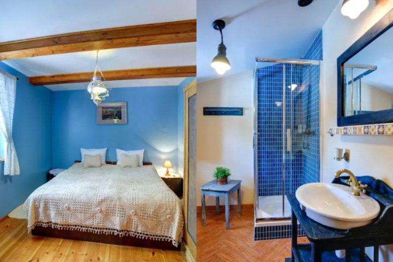 Połączenie niebieskiego odcienia ścian z drewnem w ciepłych tonach sprawia, że wnętrze jest bardzo przytulne