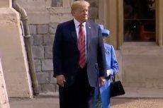 Gafa Donalda Trumpa na spotkaniu z Elżbietą II.