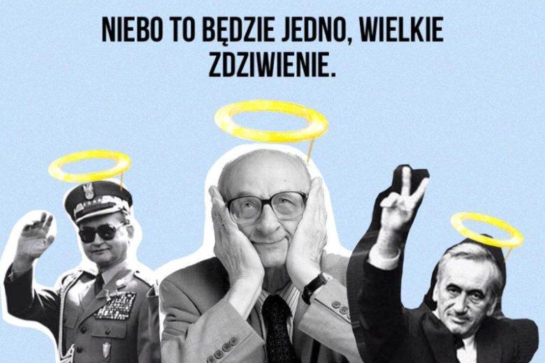 Ta grafika z aureolą nad głowami Bartoszewskiego, Mazowieckiego czy gen. Jaruzelskiego wywołała niemałe poruszenie.