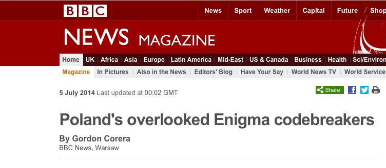 Brytyjczycy wreszcie przyznają, ze Polacy mają ogromne zasługi w łamaniu szyfrów enigmy