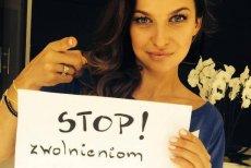 """Zdjęcie Anny Lewandowskiej promującej akcję """"Stop zwolnieniom z WF"""""""