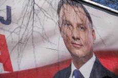 Billboard wyborczy prezydenta Andrzeja Dudy, który stara się o reelekcję z poparciem PiS.
