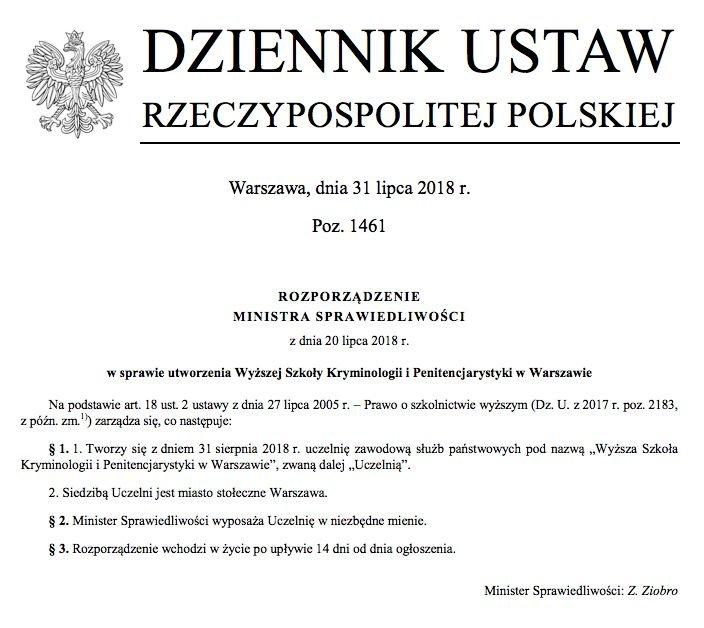 Rozporządzenie ministra Zbigniewa Ziobry ws. utworzenia nowej uczelni, kształcącej kadry dla więziennictwa.