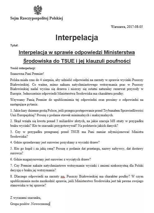 Interpelacja w sprawie Puszczy Białowieskiej
