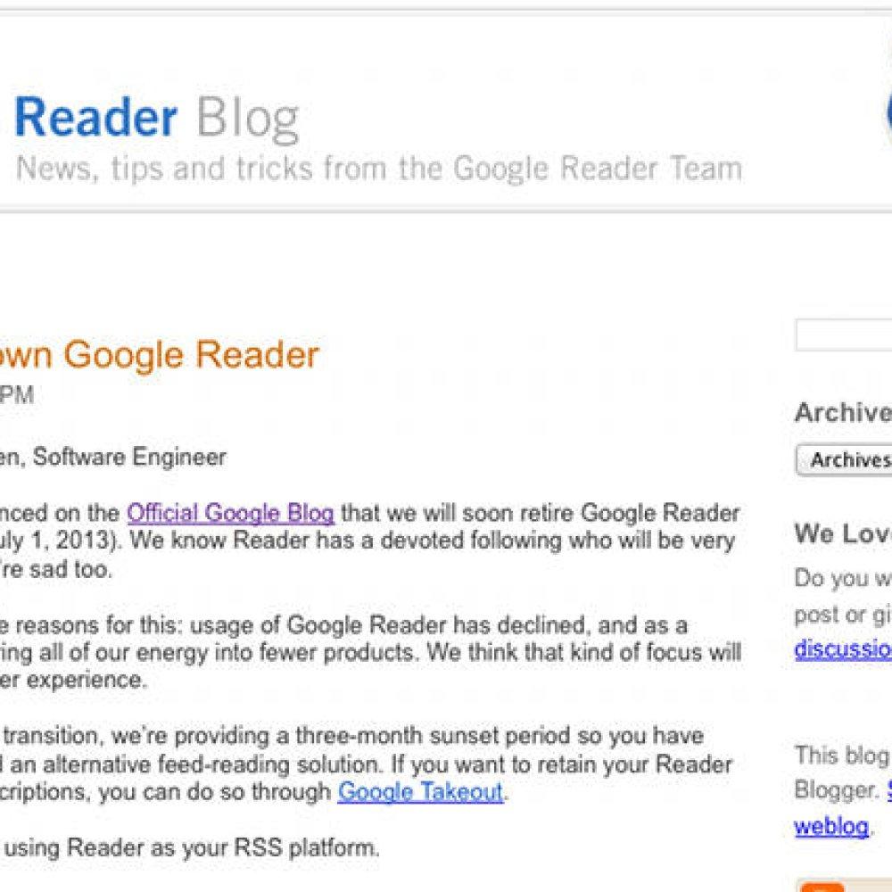 Google Reader zostanie zamknięty w lipcu  Czytnik RSS ma