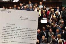 Marszałek Sejmu wzywa posłów opozycji do składania wyjaśnień dotyczących przerwania obrad 16 grudnia.
