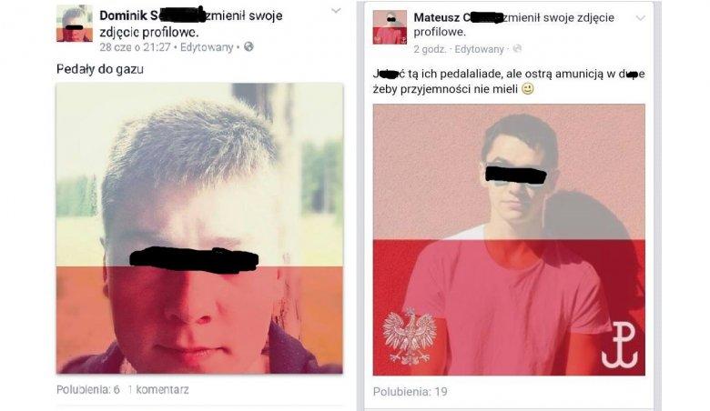 """Przykładowe hasła towarzyszące wykorzystaniu kolorów flagi Polski. """"Pedały do gazu"""" pojawia się nad wyraz często..."""