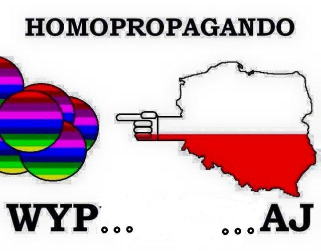 """Powrót hasła """"homopropagandy"""" oraz polskie barwy w obronie """"normalności"""" (rysunek oryginalny, jedynie ocenzurowany)"""