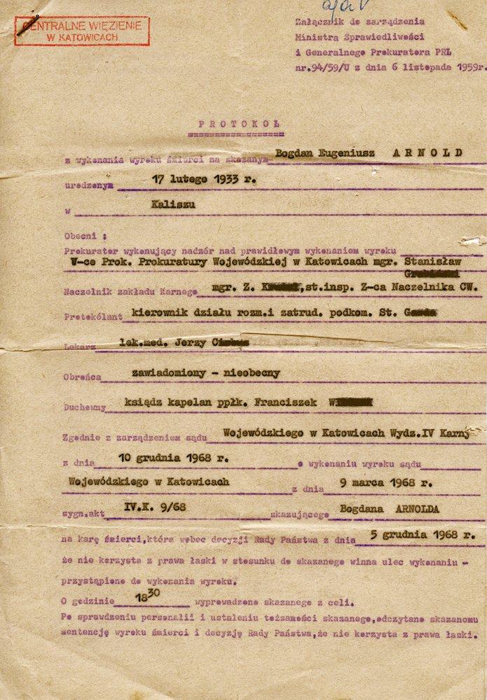 Protokół z wykonania wyroku śmierci na Bogdanie Arnoldzie