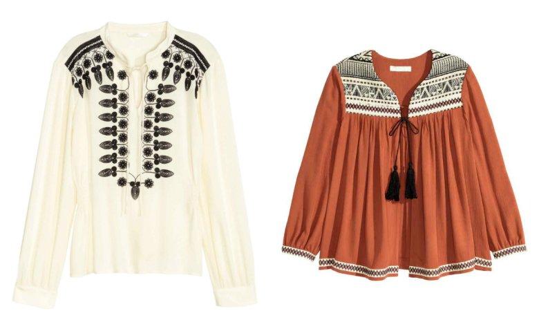 Kremowa bluzka - H&M 139,90 zł, ruda bluzka - 149,90 zł