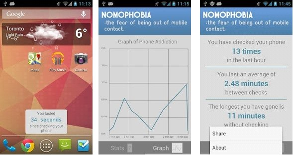 """Screeny z aplikacji """"Nomophobia for phone addiction"""""""