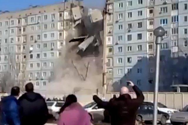Tak wyglądała katastrofa bloku w Rosji po wybuchu gazu.