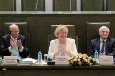 Prezes TSUE Koen Lenaerts , I prezes SN  Małgorzata Gersdorf i  prezes izby cywilnej SN Dariusz Zawistowski