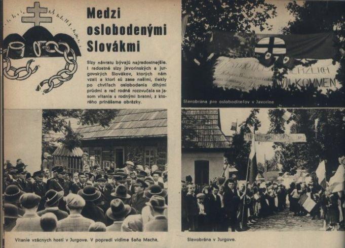 """Archiwalne wydanie magazynu """"Nový svet"""" z 16 września 1939 r. Na zdjęciach m.in. powitanie, jakie ludność miała zgotować słowackim żołnierzom w Jaworzynie i w Jurgowie."""