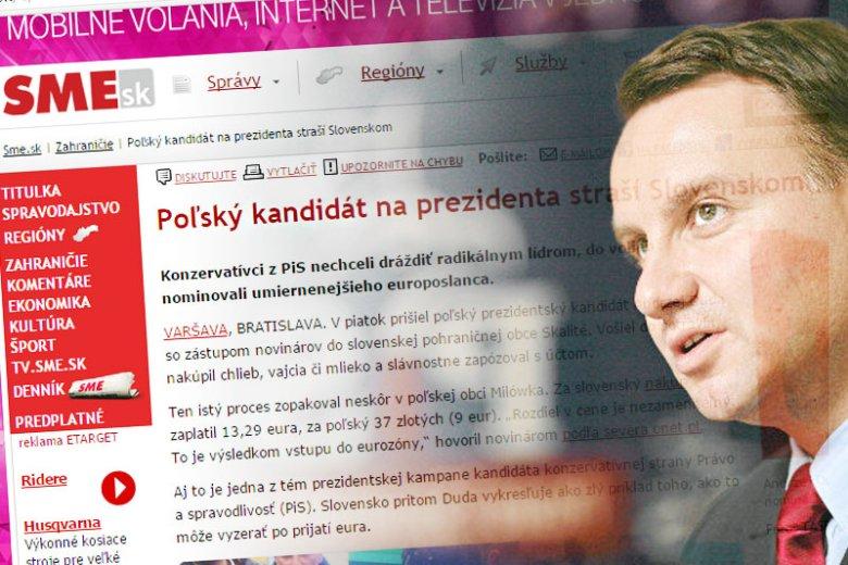 Słowacy nie są zbyt zadowoleni z faktu, iż Andrzej Duda wciągnął ich do swojej kampanii wyborczej i przedstawił jako zły przykład.