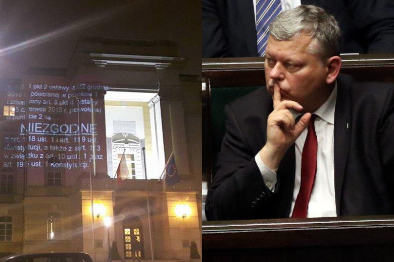 Marek Suski po analizie obrazu z rzutnika na Kancelarii Premiera: Może zaszkodzić elewacji