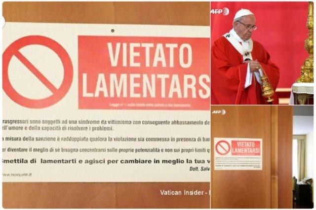 """Papież Franciszek powiesił u siebie na drzwiach tabliczkę """"Zakaz narzekania"""""""