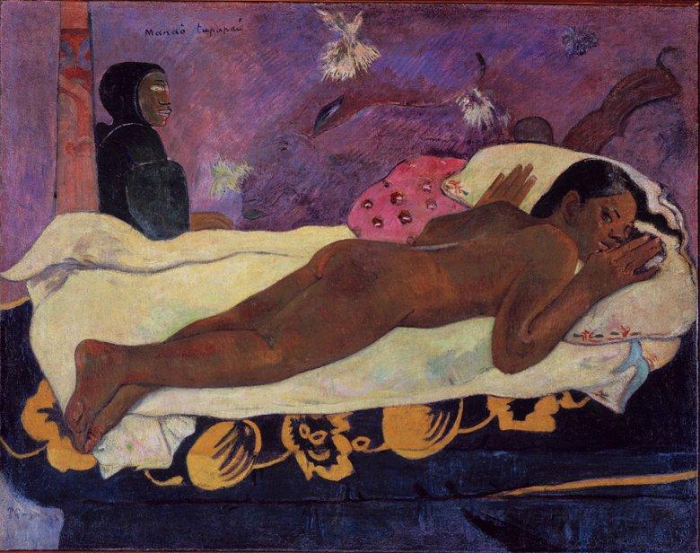 Po powrocie do domu w nocy malarz miał zastać swoją polinezyjską żonę przerażoną zjawą, którą rzekomo ujrzała. To wydarzenie stało się inspiracją do namalowania obrazu.