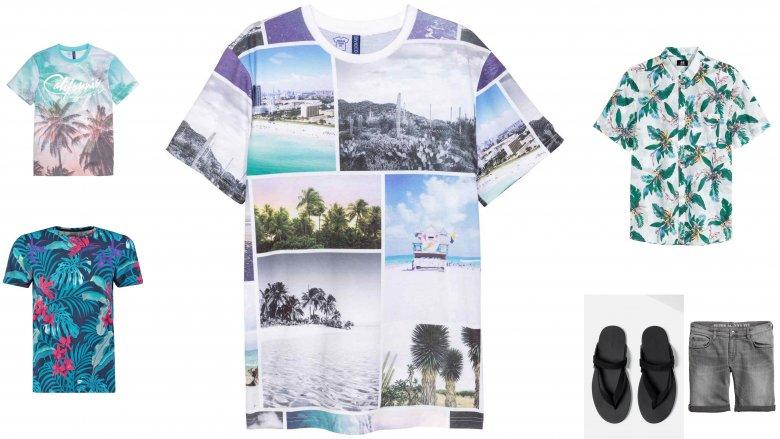 od lewej: koszulka H&M 39,90, koszulka H&M 39,90, koszula H&M 49,90, koszulka Jack &Jones 63 zł, sandały 99,90 ZARA, szorty 79,90 H&M