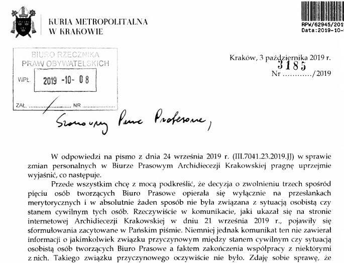 Fragment listu z krakowskiej Kurii do RPO.